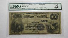 $10 1882 McAlester Oklahoma OK National Currency Bank Note Bill Ch. #5052 DATE!