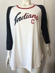47 Brand New Womens Large Cleveland Indians Baseball Tee Shirt 3/4 Sleeve Script