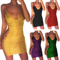 Women V Neck Bandage Bodycon Evening Party Cocktail Clubwear Night Dress Casual