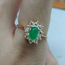 Chic Jade Crystal Ring 18k Yellow Gold Plated White CZ Rhinestones Size 6