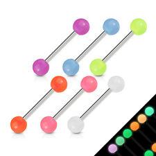 6 lot GLOW in DARK Ball Barbells Tongue Nipple Bar RINGS Studs Piercing Jewelry