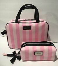 Victoria's Secret Hanging Travel Case And Cosmetic Bag Pink Striped New.