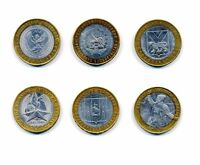 6pcs set of Russia 10 Roubles 2000-2007 Bimetal Commemorative Coins rare jubilee