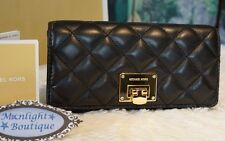 NWT Michael Kors ASTRID Carryall Quilted Leather Wallet Clutch BLACK/GOLD $198