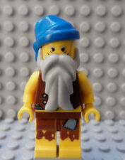 LEGO Minifig Pirates Castaway Long  Beard Blue Bandana Hat Anchor Tatoo Torso