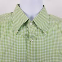 Lacoste Men's Green White Check L/S Dress Button Shirt Sz 44