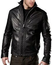NEW Mens Real Leather Jacket Black Zipped Pockets Casual Fitted