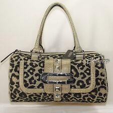 Guess Gold Jungle Cat Satchel Leopard Metallic Fabric Handbag New! NWT LN906531