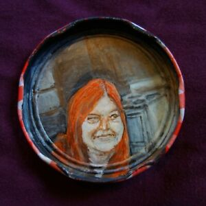 DOROTHY ALLISON, Jam Jar Lid Portrait, Literary, Outsider Folk Art by PETER ORR
