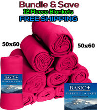 WHOLESALE FLEECE THROW BLANKET LOT OF 12 50X60 FUSCHIA  (Hot Pink)