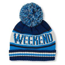 Boys 'Weekend' Striped Pom Pom Beanie HAT size S/M  (4-7 YR)