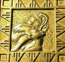 Vintage Disney Lion King Simba And Nala Gold Tone Brooch Square Pin Scarce