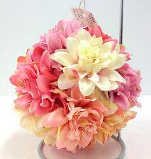 """Silk Dahlia Flower Kissing Ball w/Hanger. Cream, Pink, Blush. 7"""" Round"""