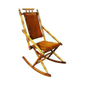 Traditional Light Brown Wood Rocking Chair With Upholstered Seat Nursery Rocker