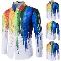 Mens Rainbow Colorful Shirts Long Sleeve Casual Party Dress Shirt Blouse Tops US