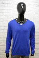 Maglione Uomo Calvin Klein Taglia L Pullover Cardigan Felpa Seta Sweater Blu