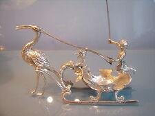 1892 Berthold Muller silver miniature cherub sleigh pulled by flamingo bird.