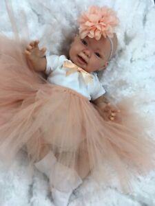 REBORN DOLL HEAVY BABY GIRL PEACH TUTU OUTFIT MAGNETIC DUMMY Su