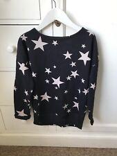 H&M Girls Black Cream Stars sweatshirt Top Age 10-12y 146/152cm