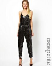 ASOS Petite Jumpsuit 8 Exclusive All Over Sequin Black Silver Bling Party Dance