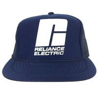Vtg Reliance Electric Hat Spell Out Logo Mesh Foam Snapback Trucker Baseball Cap