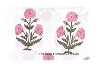 3 Yard Indian Hand Block Cotton Fabric Natural Printed Handmade Fabrics Pink