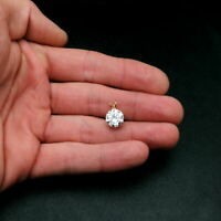 4.00ct Created Diamond Pendant 14K Solid Yellow Gold Solitaire Charm 10mm