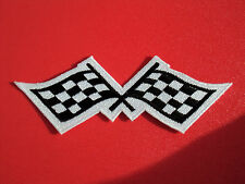 MOTORSPORTS RACING CAR BADGE SEW/IRON ON PATCH:- CHEQUERED FLAGS MEDIUM PAIR