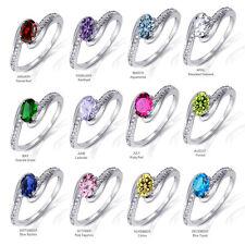 Infinity Yin Yang Oval Cut Birthstone w/ Sapphire Genuine Sterling Silver Ring