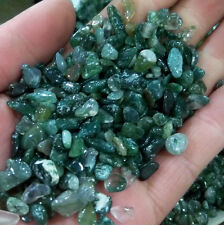 MOSS AGATE Chips 7-9mm Semi-tumbled 1/2 lb mini-xsm Bulk Green Reiki Stones