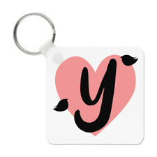 Letter Y Heart Alphabet Keyring Key Chain - Valentines Day Love Girlfriend