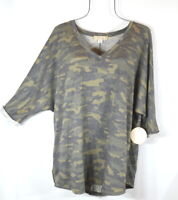 New Women's Camo Rolled 3/4 Sleeve Top Tunic Blouse Plus Size 2X NWT