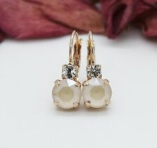 Rose Gold Plated Ivory Cream Leverback Earrings with Swarovski Crystal Element