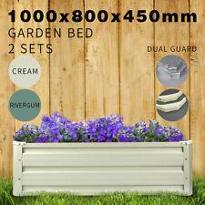 2x Galvanised Steel Raised Garden Bed Veggie Flower Rectangle Planter Box