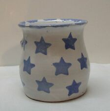 Blue Stars Pottery Vase Pen Pencil Holder Jar Blue and White Signed by Artist