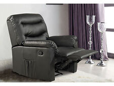 Birlea Regency Manual Recliner Chair Upholstered Black Faux Leather