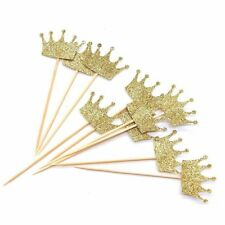 Gold Glitter Crown Cake Cupcake Topper for Wedding Party Decoration 20pcs Y9T7