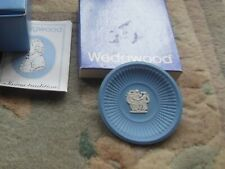 New In Box Wedgwood Fluted Blue Jasperware  Trinket Pin Dish Vintage
