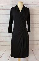 KAREN KANE Size M Stretch Jersey Surplice Neck Faix Wrap Dress Black