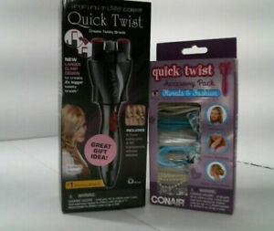 Black Conair Quick Twist Twirl Hair Braider with accessory pack!