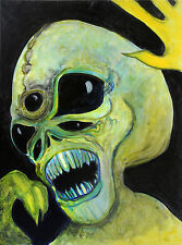'5 Eyed Alien' Limited Signed Print 12x16 -UFO, painting, space, original art