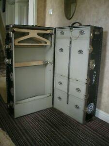 Large Black Antique Travel Steamer Trunk /Cabin Wardrobe VICTOR LUGGAGE ENGLAND