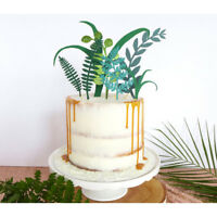 Green Plant Cake Toppers Laser Cupcake Flags Party Decor Birthday Supplies AuR8Y