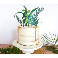 green plant cake toppers laser cupcake flags party decor birthday supplies~OL