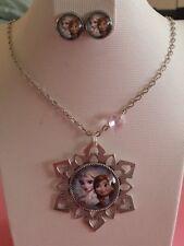 Disney FROZEN Elsa & Anna Snowflake Silver Charm Necklace & Stud Earrings Set!
