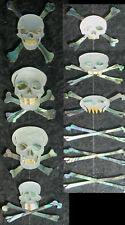 FR5# Skull W Bone Fretboard Inlay Set Abalone White Mother of Pearl 1.5mm thick