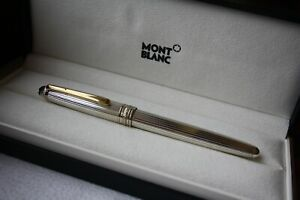 MONTBLANC Solitaire STERLING SILVER 925 Godron Pinstripe GOLD 163 Rollerball Pen