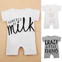 Newborn Kids Baby Boy Girl Short Sleeve Romper Jumpsuit Bodysuit Outfits 0-12M