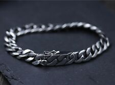 Pure S925 Sterling Silver Men 9.3mm W Curb Link Chain Bracelet /45.9g/ 8.66inch