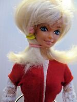 Original Barbie doll blonde hair red high heels, checked slacks & red top